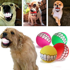Pet Puppy Chew Squeaker Squeaky Sound Toy Cute Dog Ball Teeth Silicon Play Toy