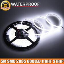 Super Bright DC12V 16.4ft 5M SMD 2835 600LEDs Strip Waterproof Light Cool White