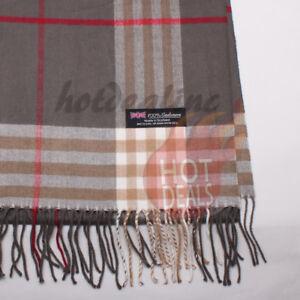 100% CASHMERE Scarf Check Tartan Plaid Wrap Plain Scarves Winter Warm