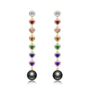 Luxury Colorful Cubic Zirconia Golden Heart Chandelier Pearls Earrings Clip On