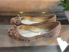 Jimmy Choo Natural Blush Suede Star Studded Crystal WILLOW Ballet Flats Shoe 35