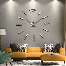 DIY Design Wanduhren Wohnuhr Uhrwerk Nummer Uhr Wall Clock 3D Wandtattoo Silber