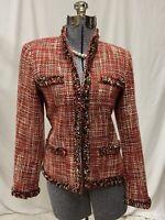 Rafaella Red Pink Burgundy Woven Wool Blend Lined Blazer Jacket Size 10
