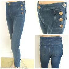 NEW EX M&S LIMITED COLLECTION BUTTON DETAIL CROPPED JEANS TROUSERS SIZE 8 - 18