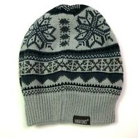 mukluks fair isle skull cap beanie hat reversible grey blue womens winter
