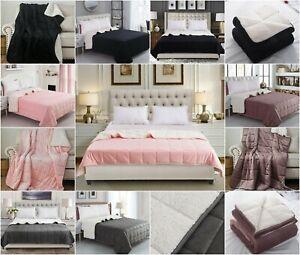 Sherpa Throw Fleece Blanket Soft Fluffy Warm Cozy Sofa Bed Throws Double King