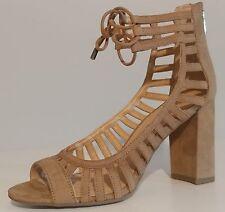 "NEW!! Franco Sarto Beige Suede Sandals 3.5"" Block Heels Size 7M US 37M EU 5UK"