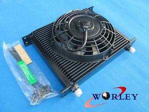 """Universal 30 Row 10 AN Transmission Oil Cooler & 7"""" inch ELECTRIC Thermo fan"""