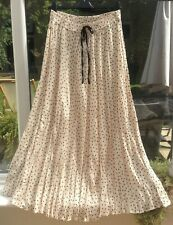 Zara Pleated Maxi Skirt in Cream with Black Polka Dots, Size M