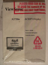 ViewSonic User's Guide for ViewSonic N2750w LCDTV Monitor Display New & Sealed