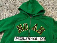NOAH NYC SCRIPT ZIP UP HOODIE L KELLY GREEN HOODED SWEATSHIRT LARGE SS17 NY