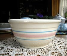 "Vintage McCoy 8"" Mixing Bowl  Pink & Blue Striped on Beige ~"
