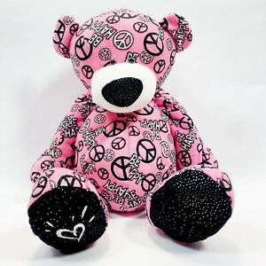 Ganz Justice Heart Peace Sign Be Happy Plush Pink And Black Bear 14in Toy