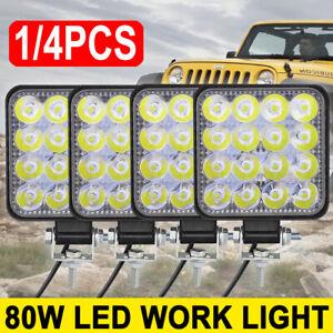 4PCS 80W LED Work Light Spot Lights Driving Lamp Offroad Car Van SUV 12V/24V UK