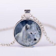 Pendant Necklace 50cm Long Chain Beautiful White Wolf Glass Cabochon
