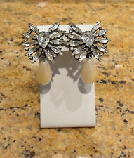 Chico's Big Rhinestone Crystal Bling Pearl Clip Drop Dangle Earrings Stunning!