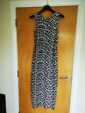 Ladies WHISTLES Dress Size 8 Long Maxi Leopard Print Black Cream Smart Casual