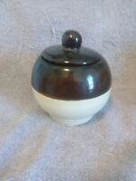 """Vintage R.R.P.Co.Round Stoneware Pottery Crock Brown and White Primitive 4"""""""