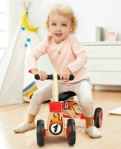 Balance bike for toddlers-4 wheels, stable design, wood ride push along