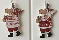 6 X Christmas Tree Decorations Red White Hanging Wooden Reindeer Fun Children