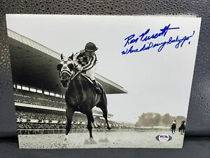 Ron Turcotte - Secretariat Signed Belmont 32 Length Win 8x10 Photo PSA /Dna