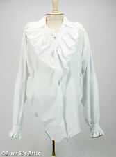 Pirate Blouse Ladies White V-Neck Laced Front Ruffled Pirate Costume Blouse OS