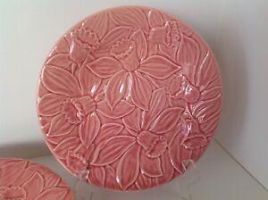 "Set of 4: Bordallo Pinheiro PINK DAFFODILS 9.25"" Plates Easter Spring Flowers"