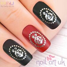 Silver Cameo Flower Water Decal Nail Stickers Transfers Tattoos Art 01.03.008