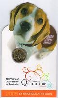 2008 $1 UNC - Centenary of Quarantine - RAM coin  - Quarantine Dog on card