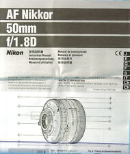 Af Nikkor 50mm f/1.8 d manual de instrucciones manual mode d 'emploi - (11875)