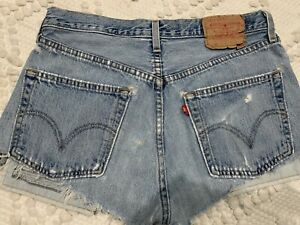 Vintage Levis 501 Distressed  Button Fly Jean Cut Off Jean Shorts 32 Super Soft