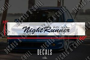 Night Runner Japanese Sun Strip Visor Windshield Banner Decal Sticker - JDM