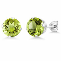 1.25Ct Green Peridot 14K White Gold Over Women's August Birthstone Stud Earrings