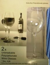 2 x Polycarbonate Wine Glasses 10oz and 18oz sizes
