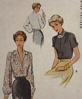 1940s Mccall Vintage Sewing Pattern 7592 Blouse Bust 30