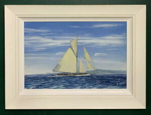 Large Mid Century Nauctical Yachting Seascape Oil On Board Painting, Signed