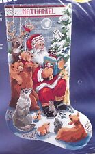 Bucilla Woodland Storytime Santa Deer Wolf Bear Needlepoint Stocking Kit 60759