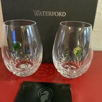 "2 Waterford ""Lismore"" Nouveau DEEP Red Stemless Wine Glasses NEW with Box Signed"