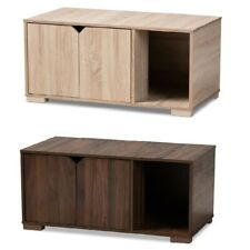 Cat Litter Box Cover Cat House Side End Table Furniture Oak Walnut Brown 2-Door