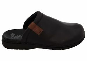 Mens Gents Rieker Black Leather Comfort Anti Stress Mule Slip On Slippers