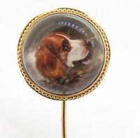 .Antique Victorian Reverse Intaglio Essex Crystal Cocker Spaniel Dog Gold Pin