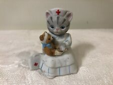 Vintage 1989 Schmid Kitty Cucumber Nurse Cat Figurine