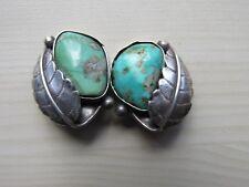 Leaf Applique Clip Earrings Unmarked Vintage Southwest Turquoise Sterling Silver