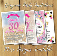Birthday Party Invitations Personalised Any Age 30th 40th 50th 60th +Envelopes