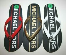 New Michael Kors Sandals Flip Flops Black Gold White Red Size 6 7 8 9 10 11