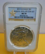 2013 W Burnished American Silver Eagle Annual Dollar Set NGC MS70 (POP 727)