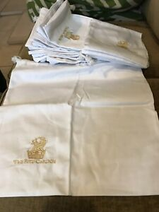 The Ritz-Carlton Hotel Drawstring Shoe Bags Lot 10 Embroidered White Cloth Gold