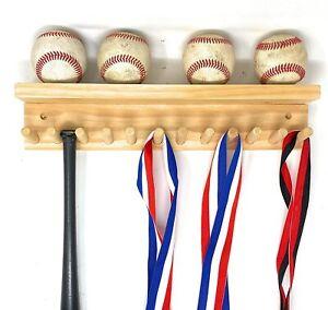 Award Medal Display Rack And Trophy Shelf 12 Medals Ball Holder Natural MADE USA
