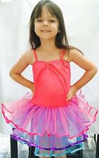 Girls Tutu, Ballet, Fairy Dress, Costume,Party Rainbow Tulle Pink Approx 4-6yrs