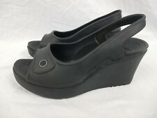 Crocs Black/Grey Wedge Slingback Sandal Heels Open Toe Size UK 7 EUR 40
